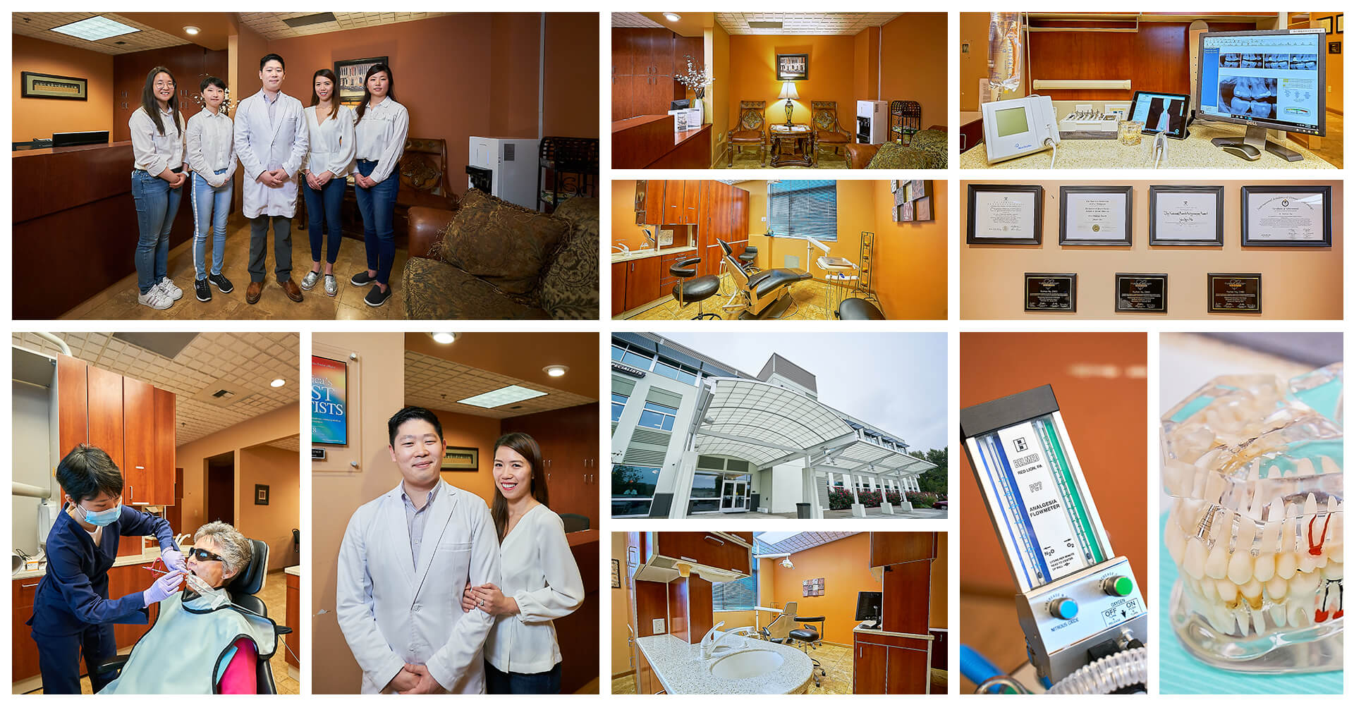A collage showing our the entire dental team, our dentist office in Renton, WA, our building and our technologies